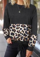 Leopard Splicing Drawstring Pullover Sweatshirt
