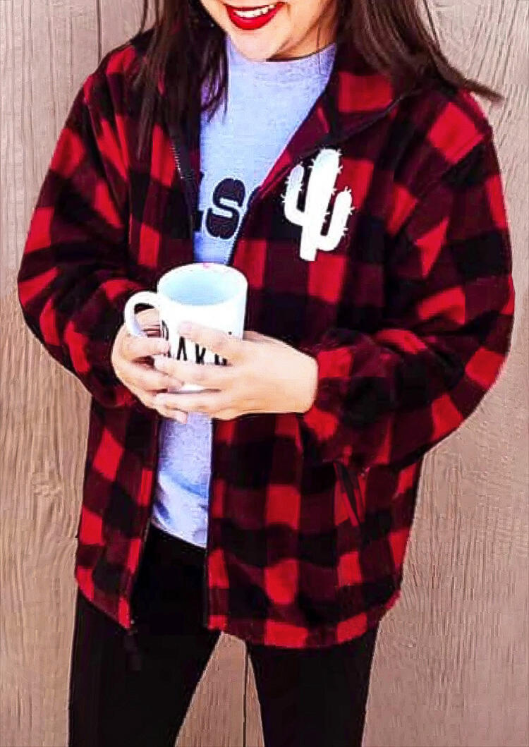 Buffalo Plaid Cactus Long Sleeve Jacket Coat