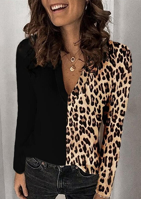 Leopard Splicing V-Neck Long Sleeve Blouse