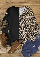 Leopard Splicing V-Neck Long Sleeve Blouse