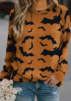 Halloween Bat O-Neck Long Sleeve Pullover Sweatshirt