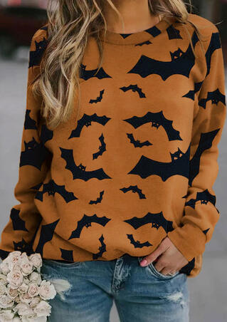 Halloween Bat O-Neck Long Sleeve Pullover Sweatshirt - Yellow