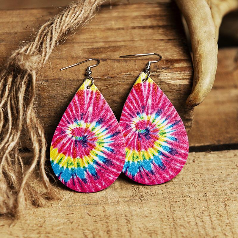 Fairyseason coupon: Tie Dye Swirl Water Drop Leather Earrings