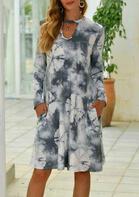 Tie Dye Hollow Out Pocket Mini Dress