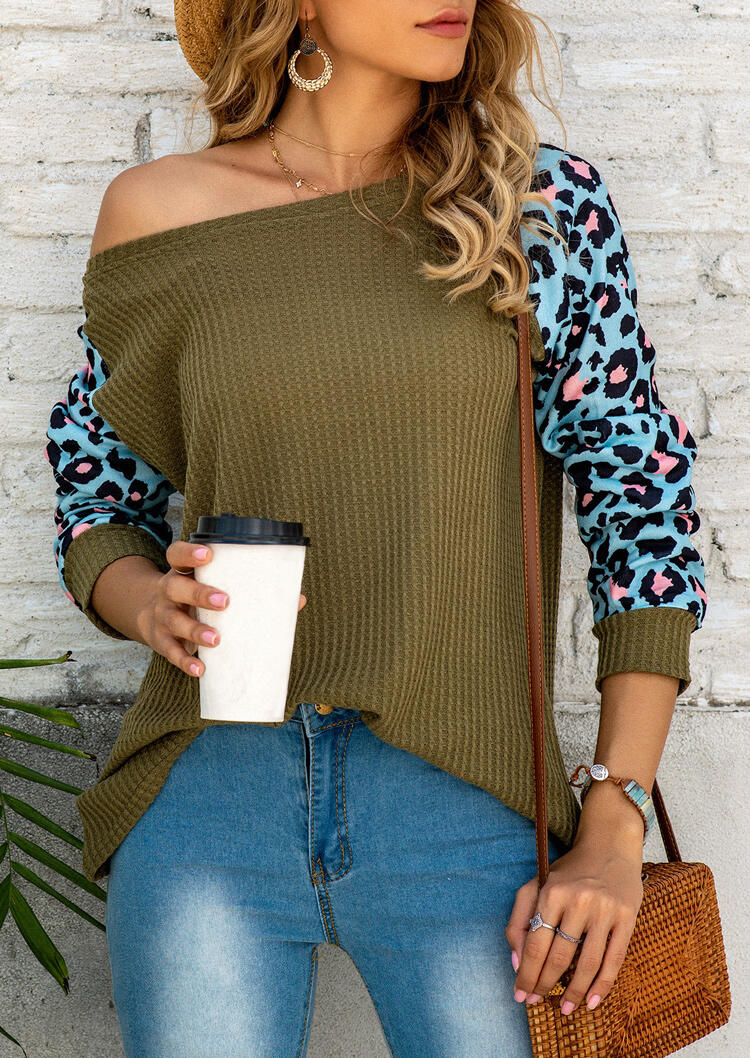 Leopard Splicing Raglan Sleeve Blouse - Army Green