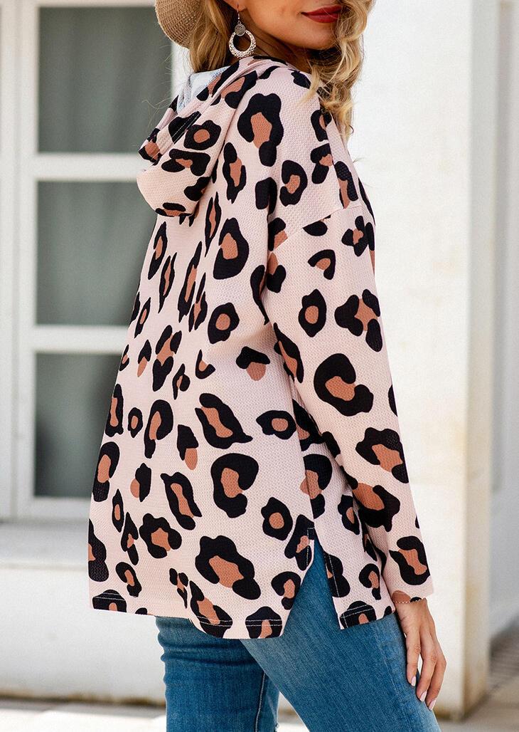 Leopard Drawstring Slit Long Sleeve Hoodie