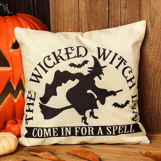 Halloween Witch Bat Pillowcase without Pillow