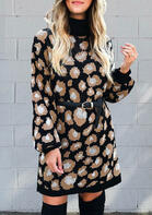 Leopard Turtleneck Long Sleeve Sweater Mini Dress without Belt