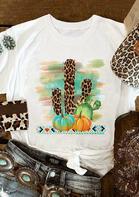 Leopard Cactus Pumpkin Aztec Geometric T-Shirt