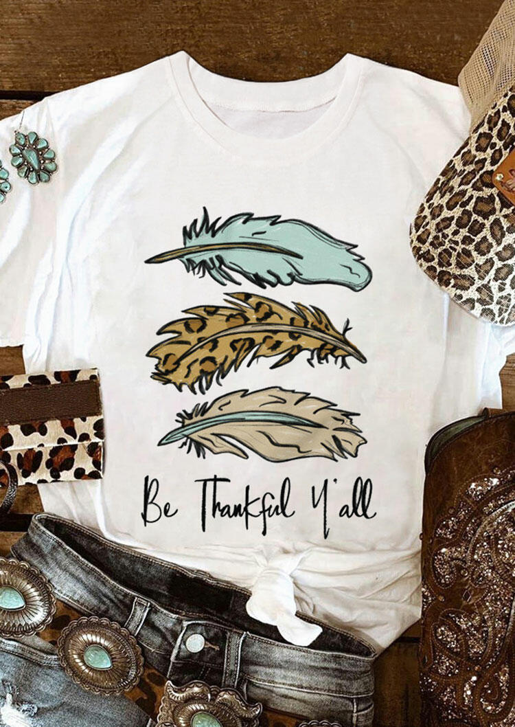 Leopard Be Thankful Y'all Feather T-Shirt Tee - White
