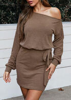 Long Sleeve Slash Neck Knitted Mini Dress