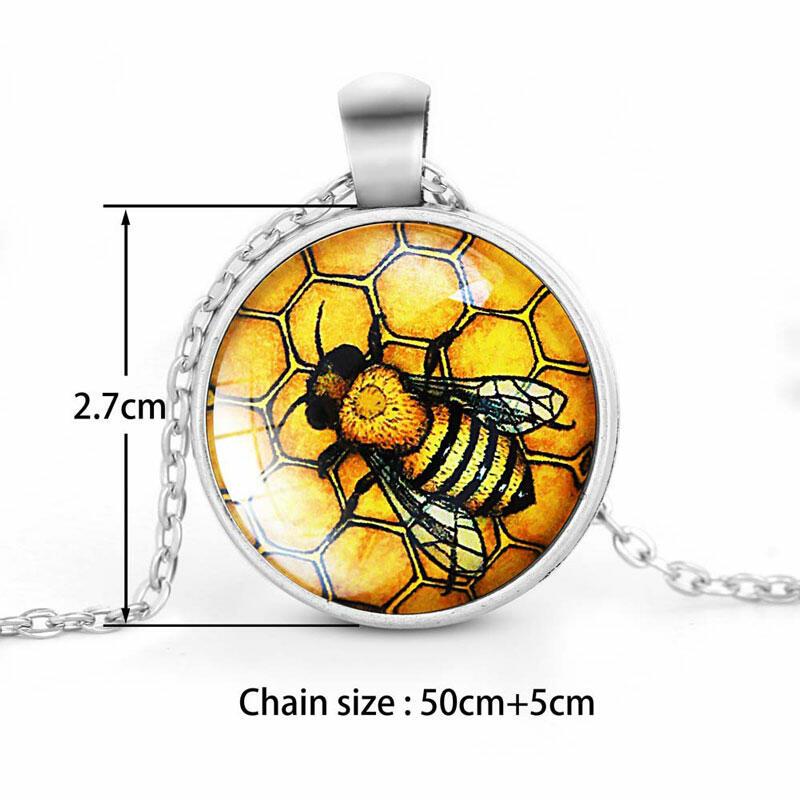Vintage Bee Gemstone Pendant Necklace