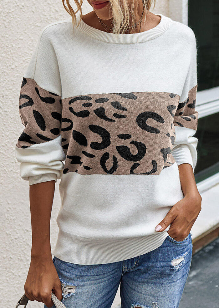 Leopard Splicing Knitted Pullover Sweater - White