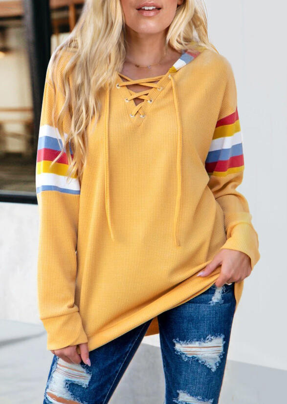 Colorful Striped Lace Up Pullover Hoodie - Yellow
