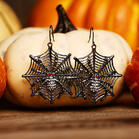 Halloween Spider Hollow Out Alloy Earrings