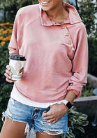 Button Skew Collar Long Sleeve Pullover Sweatshirt