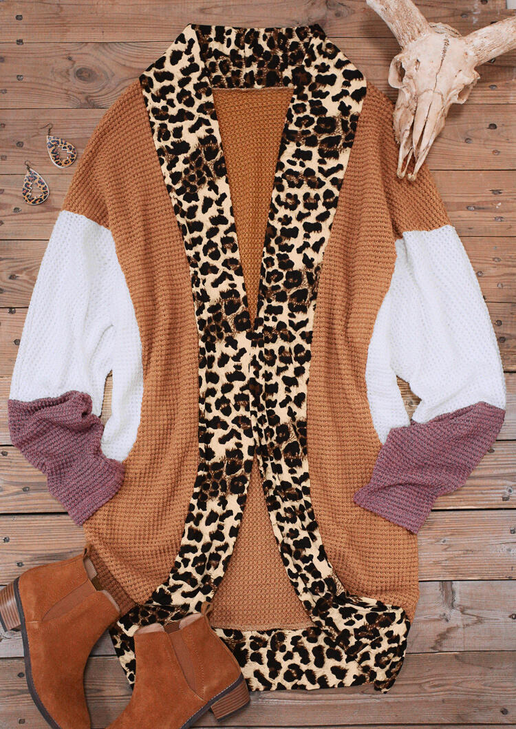 Leopard Splicing Color Block Batwing Sleeve Cardigan - Brown