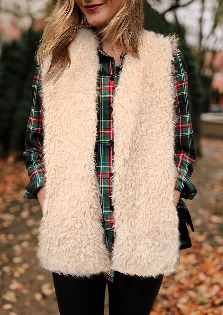 Pocket Plush Open Front Vest Coat - Apricot