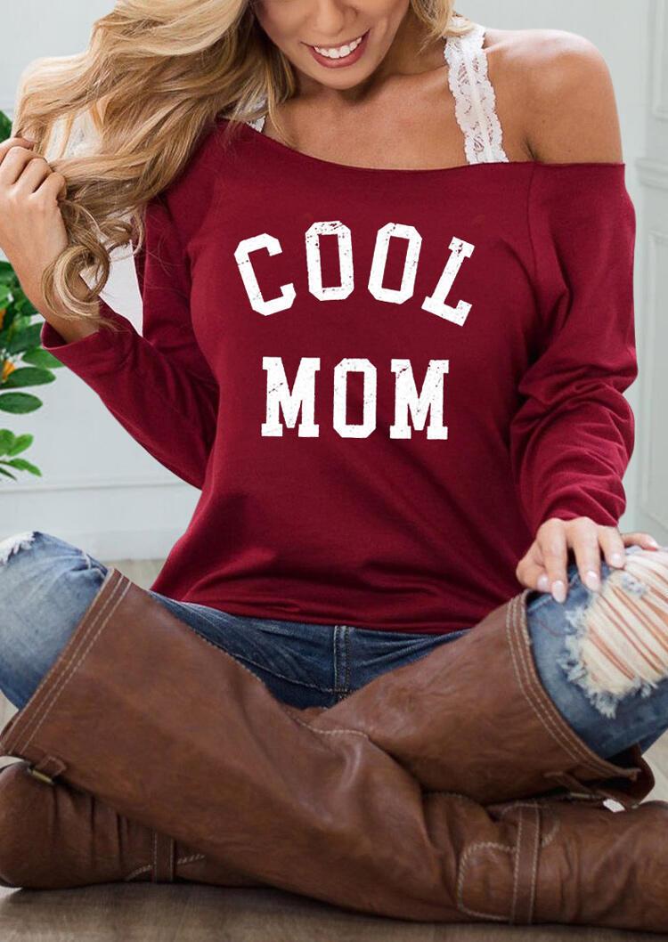 Cool Mom Slash Neck Blouse without Lace Camisole - Burgundy