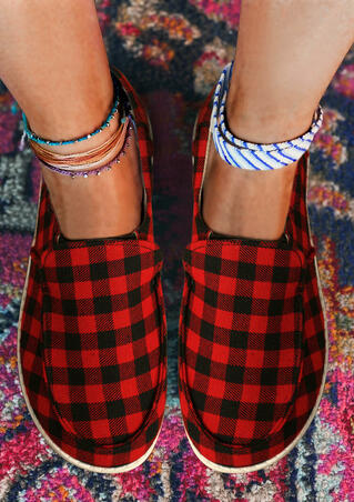 Buffalo Plaid  Slip On Flat Sneakers - Red