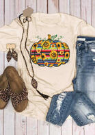 Sunflower Serape Striped Pumpkin T-Shirt