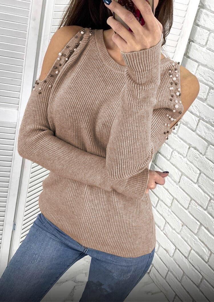 Beading Cold Shoulder Long Sleeve Sweater - Khaki