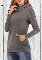 Kangaroo Pocket Cowl Neck Pullover Sweatshirt