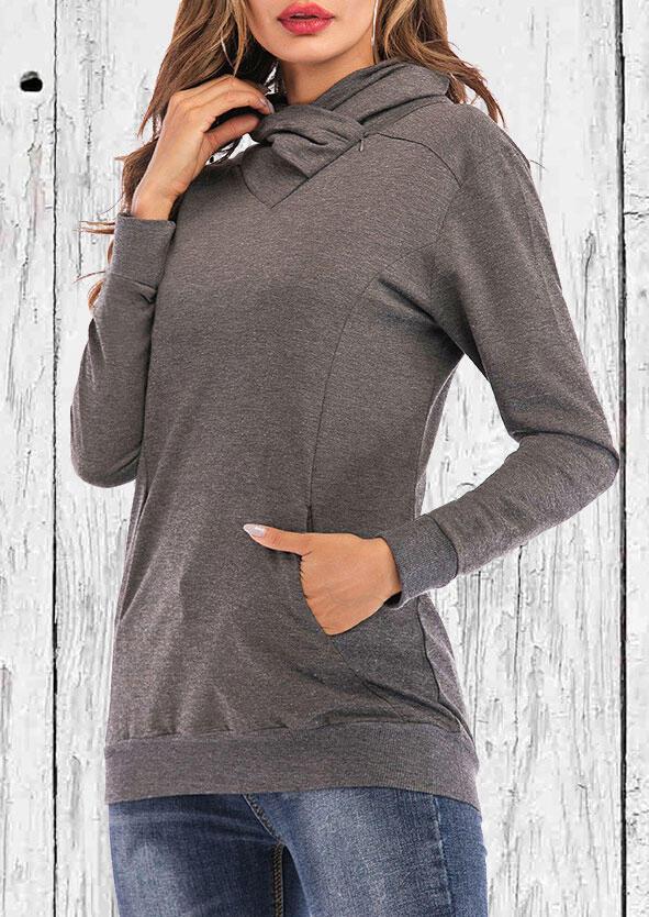 Kangaroo Pocket Cowl Neck Pullover Sweatshirt - Gray