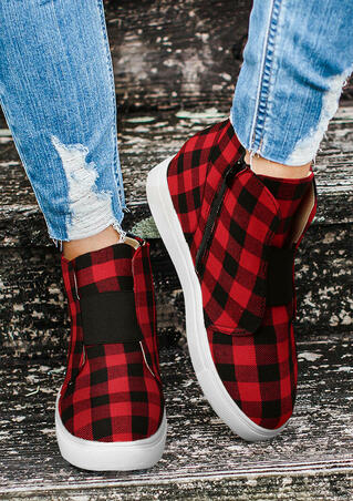 Buffalo Plaid Zipper Elastic Band Wedged Heel Sneakers