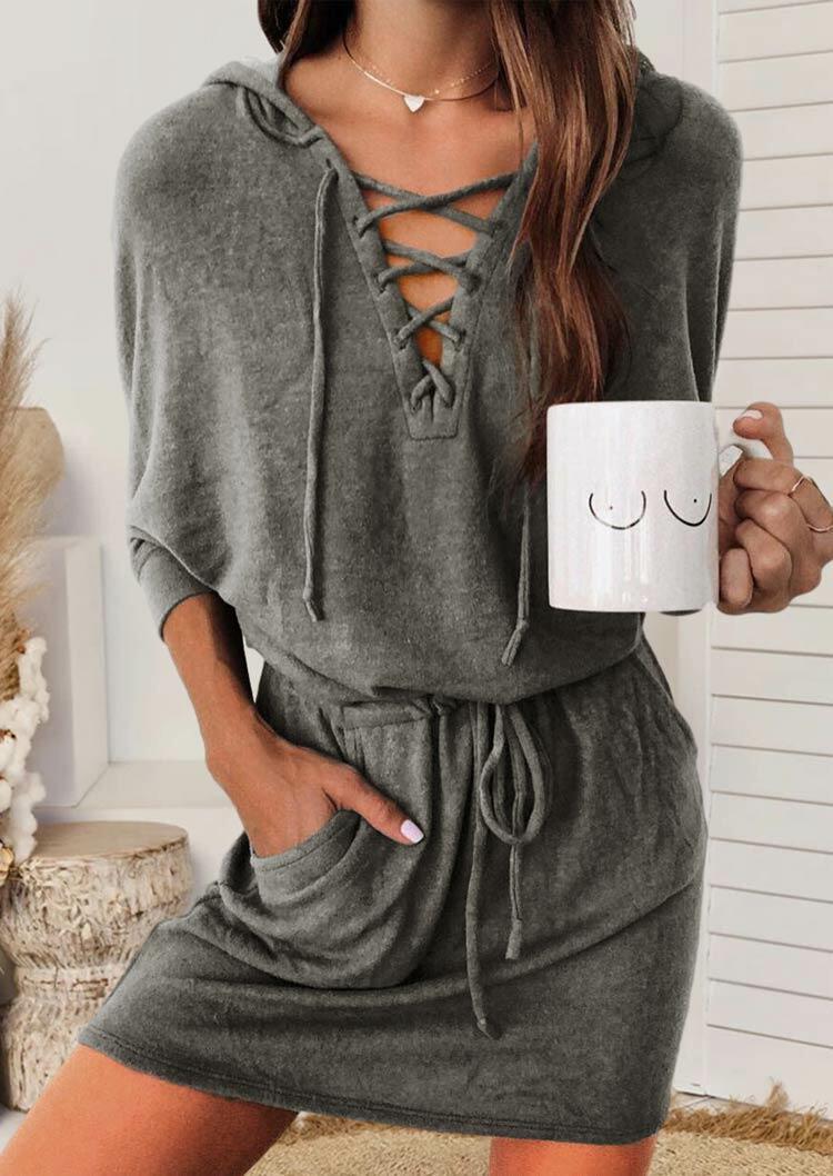Pocket Lace Up Drawstring Hooded Mini Dress - Gray