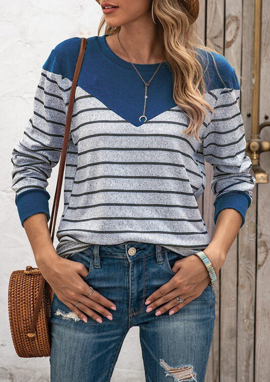 Striped Splicing Long Sleeve Casual Blouse