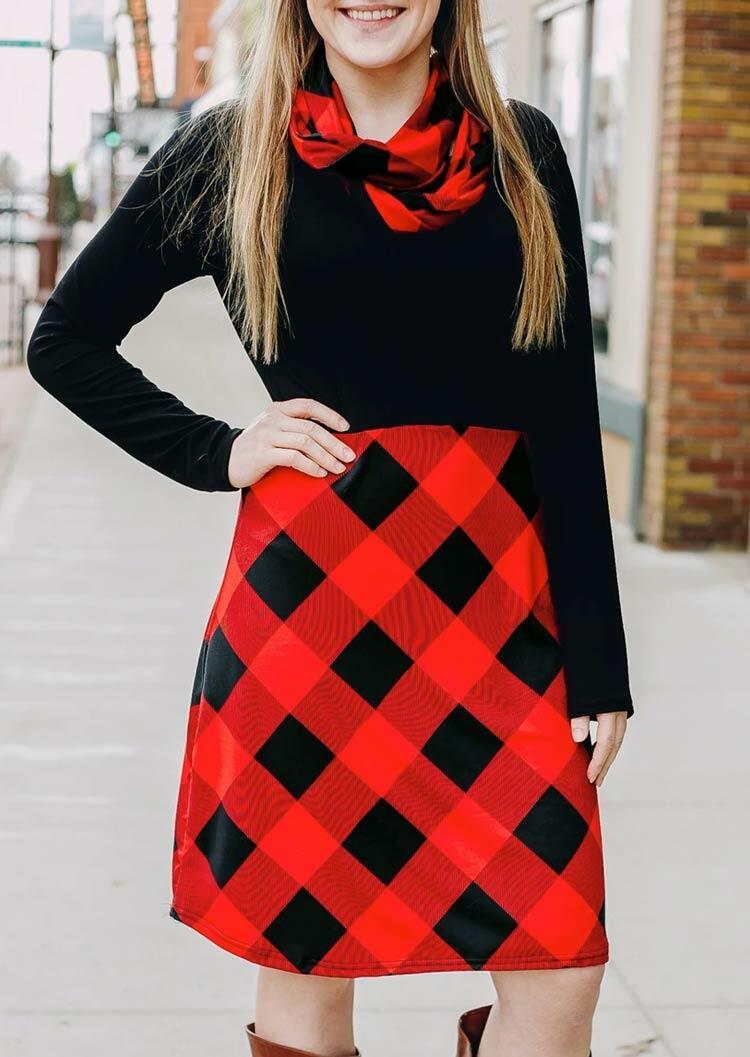 Fairyseason coupon: Plaid Splicing O-Neck Casual Dress with Scarf - Black
