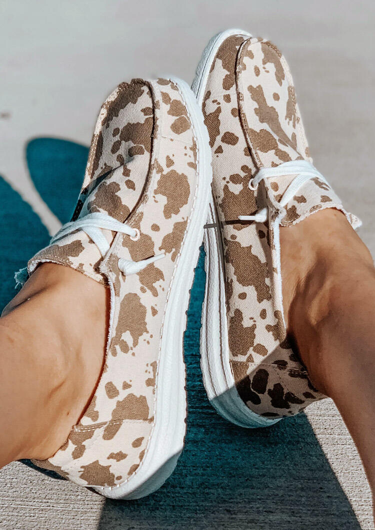 Cow Lace Up Round Toe Flat Canvas Sneakers - Light Brown