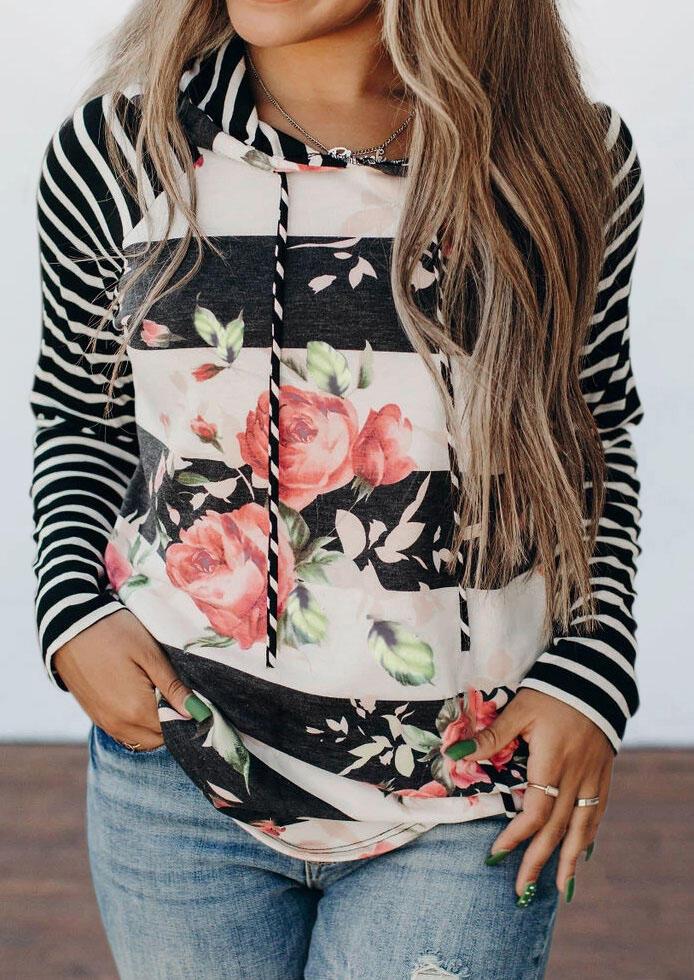 Floral Striped Splicing Drawstring Hoodie фото