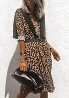 Leopard Ruffled Long Sleeve Casual Dress without Shawl And Belt