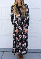 Floral Ruffled Long Sleeve Maxi Dress