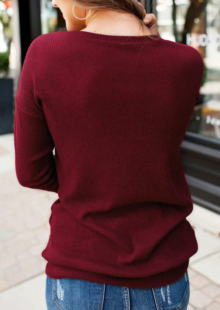 Lace Splicing Knitted O-Neck Sweater - Burgundy