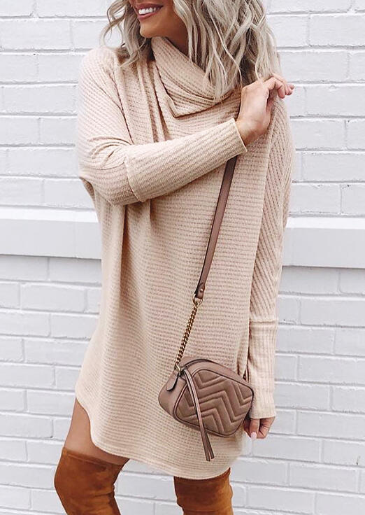Long Sleeve Cowl Neck Mini Dress - Apricot