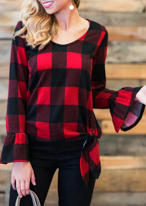 Buffalo Plaid Tie Flare Sleeve Blouse - Red
