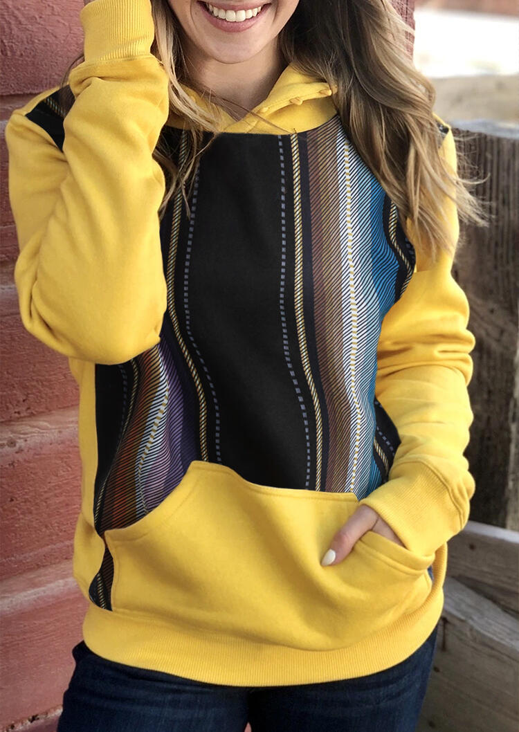Colorful Striped Splicing Kangaroo Pokect Hoodie - Yellow