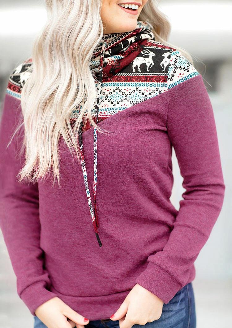 Christmas Reindeer Drawstring Cowl Neck Sweatshirt - Purple