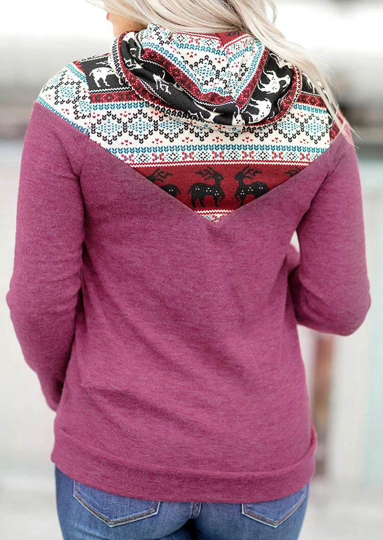 Reindeer Drawstring Cowl Neck Sweatshirt - Purple