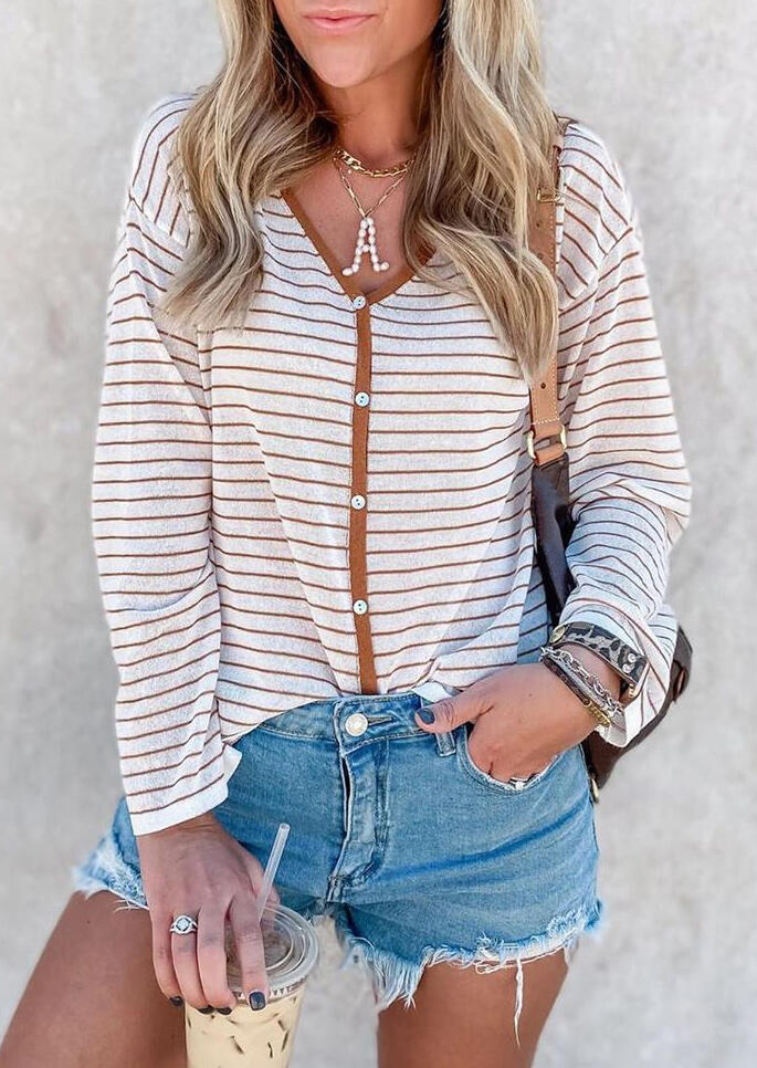 Striped Button Long Sleeve V-Neck Blouse