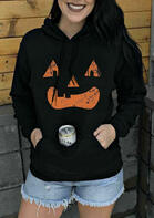 Halloween Pumpkin Face Kangaroo Pocket Drawstring Hoodie