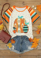 Serape Striped Leopard Aztec Geometric Pumpkin T-Shirt