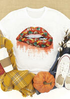 Thanksgiving Autumn Maple Leaf Lips O-Neck T-Shirt
