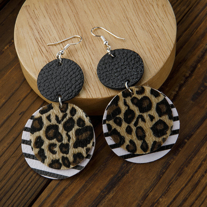 Fairyseason coupon: Vintage Leopard Striped Dual-Layered Leather Earrings