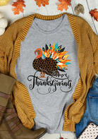 Happy Thanksgiving Leopard Turkey Colorful Feather T-Shirt