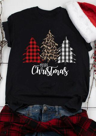 Merry Christmas Buffalo Plaid Leopard Tree T-Shirt Tee - Black