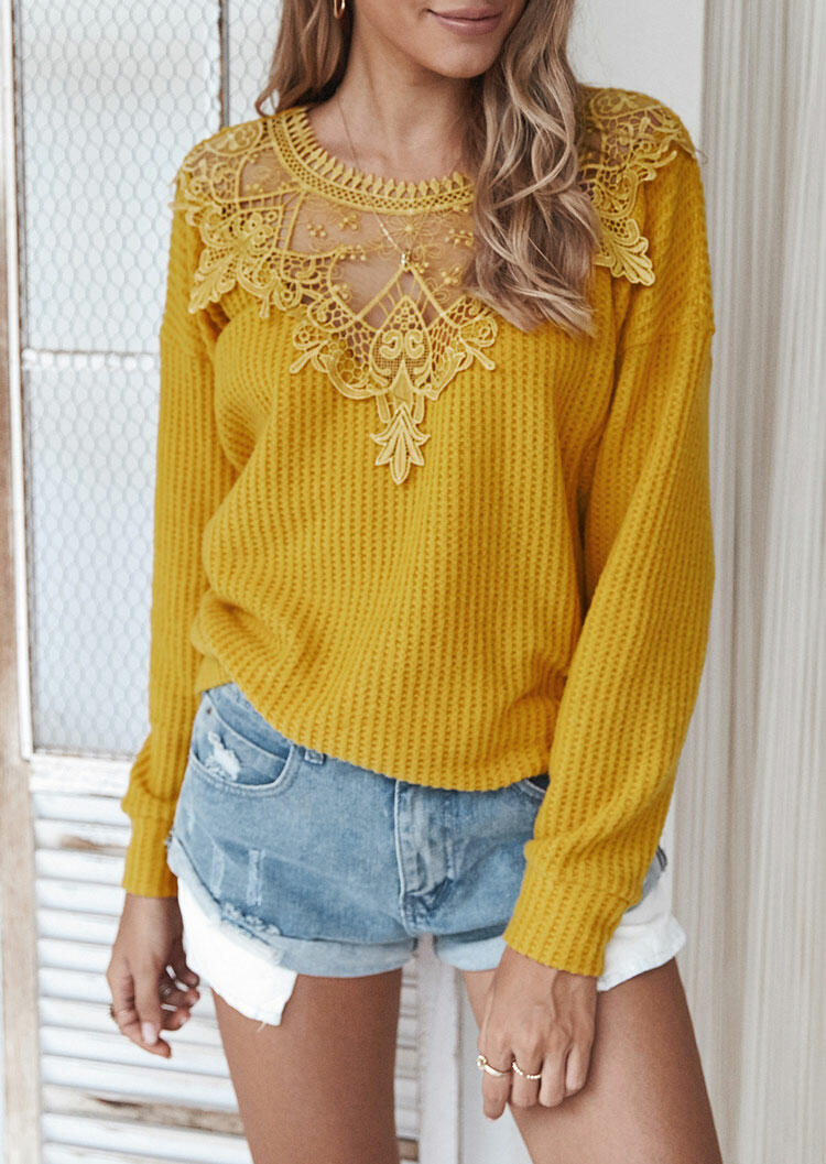 Fairyseason coupon: Lace Splicing Cut Out Long Sleeve Sweater - Yellow